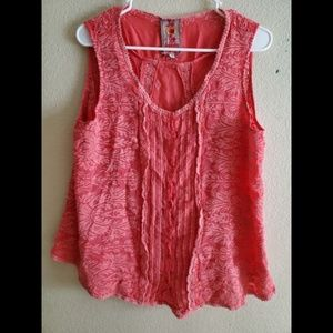 Johnny Was Sleeveless Red Embroidered Boho Top